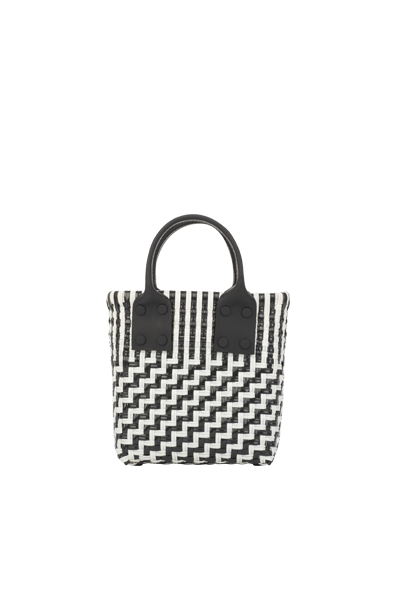 TRUSS Micro Tote w/ Leather Handles in B&W