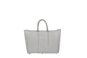 TRUSS Large Tote with Plastic Handles in B&W