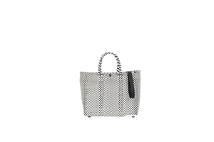 TRUSS Small Crossbody Plastic Tote in B&W
