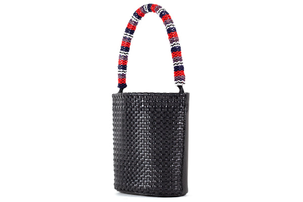 TRUSS Mini Leather Bucket w/ Bead Strap