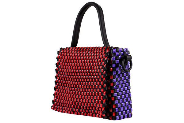TRUSS Large Woven Leather Top Handle Crossbody in Red