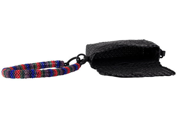 TRUSS Woven Leather Baguette w/ Bead Strap in Black