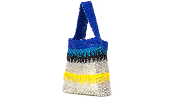 TRUSS Beaded Party Bag in Navy, Turquoise & Yellow
