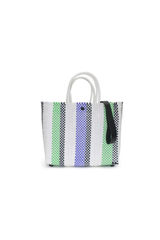 TRUSS Small Crossbody Tote in Purple/Green Strap