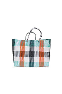 TRUSS Large Tote in Green/Orange Plaid