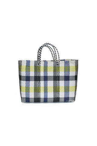 TRUSS Large Tote in Blue/Yellow Plaid