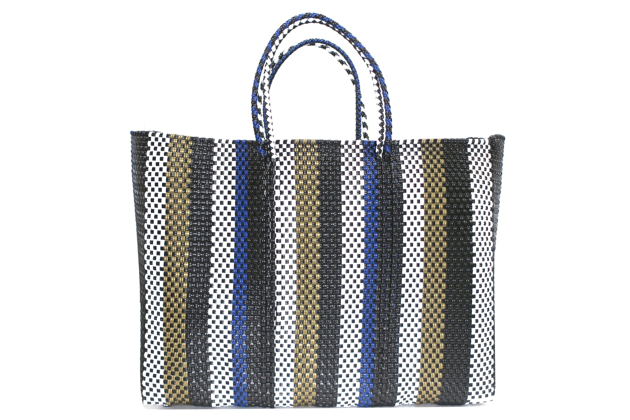 TRUSS Large Tote in Gold/Blue Stripe