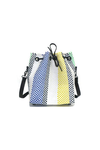 TRUSS Large Bucket Bag in Blue/Purple/Green Stripe
