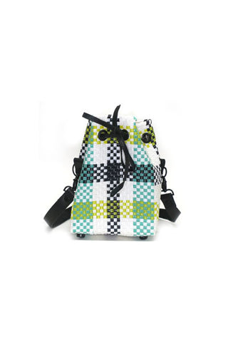 TRUSS Small Bucket Bag in Yellow/Green Plaid