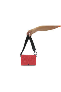 TRUSS Leather Strap Baguette in Red