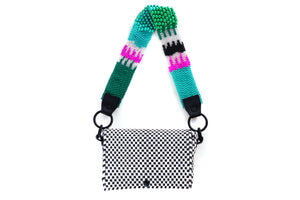 TRUSS Large Bead Strap Baguette in Black/White/Green