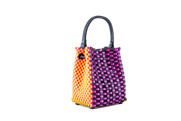 TRUSS Small Woven Leather/Plastic Top Handle Bag in Fucshia/Yellow