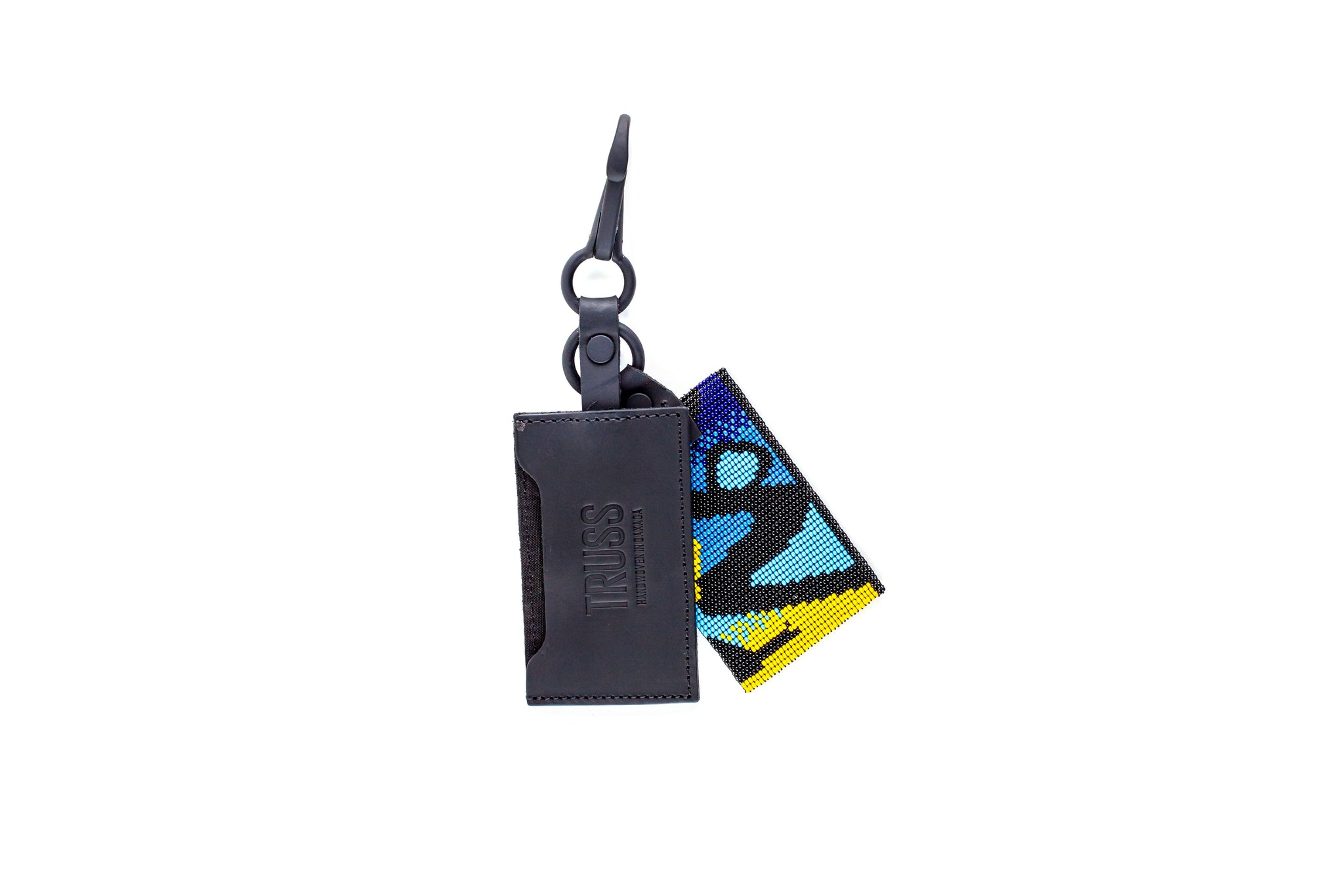 TRUSS Leather Cardholder with Glass Bead Fob in Python