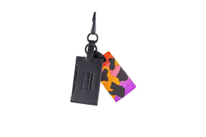 TRUSS Leather Cardholder with Glass Bead Fob in Frog