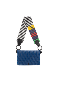 TRUSS Glass Bead Strap Baguette Handbag in Blue w/Multicolor Beads