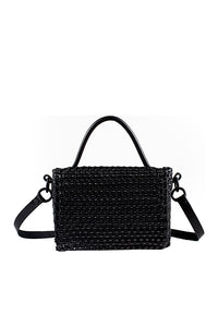 TRUSS Large Woven Leather Top Handle Crossbody in Black