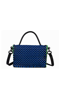 TRUSS Large Woven Leather Top Handle Crossbody in Navy