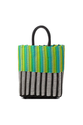 TRUSS Small Tubeweave Tote in Half Blk/White & Green/Yellow/Cyan