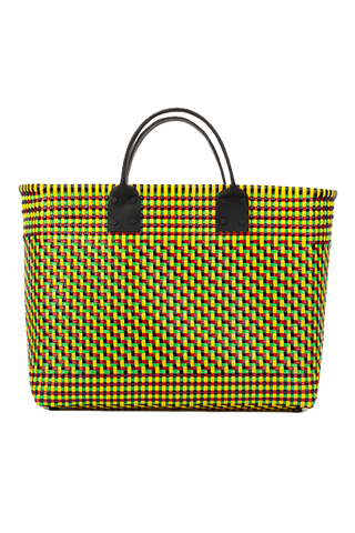 TRUSS Large Tote W/Leather Handle in Yellow, Green, Red