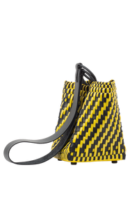 TRUSS Leather Woven Bag in Yellow
