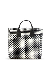 TRUSS Medium Tote w/Leather Handle in Black & White
