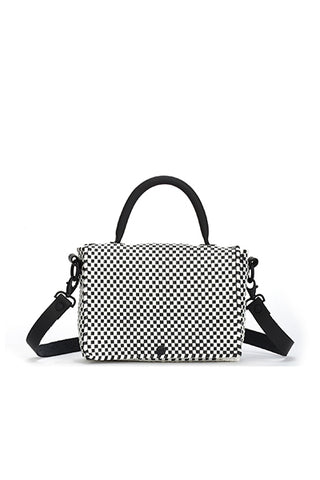 TRUSS Large Top Handle Crossbody in Blk/White