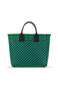 TRUSS Medium Tote w/Leather Handle in Green Blue & Black