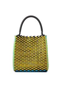 TRUSS Medium Woven Leather/Plastic Top Handle Bag in Cyan/Yellow