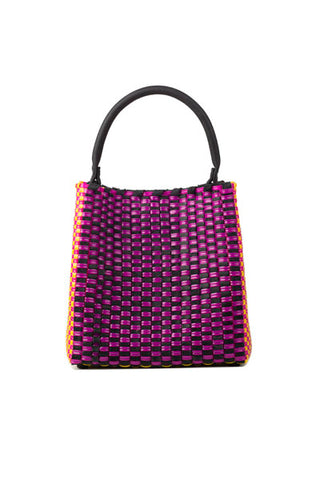 TRUSS Medium Woven Leather/Plastic Top Handle Bag in Fucshia/Yellow