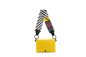 TRUSS Glass Bead Strap Baguette Handbag in Yellow w/Multicolor Beads
