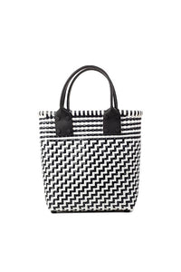 TRUSS Small Tote Leather Handle w/Pocket in Black & White