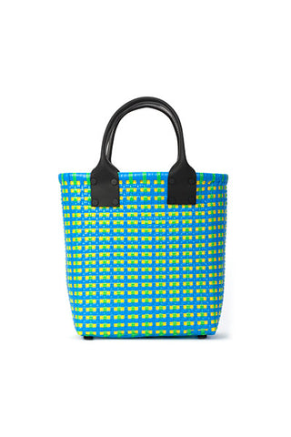 TRUSS Small Tote Leather Handle w/Pocket in Turquoise, Yellow & Green
