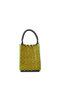 TRUSS Small Woven Leather/Plastic Top Handle Bag in Cyan/Yellow