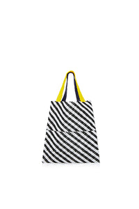 TRUSS Beaded Party Bag in Black/White Stripe w/Yellow/Blue Handles