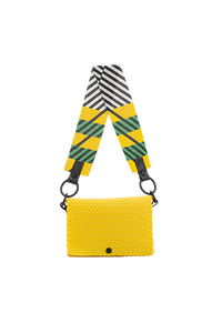 TRUSS Glass Bead Strap Baguette Handbag in Yellow w/Green Beads