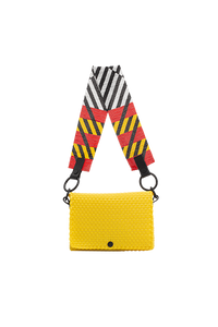 TRUSS Glass Bead Strap Baguette Handbag in Yellow w/Red Beads