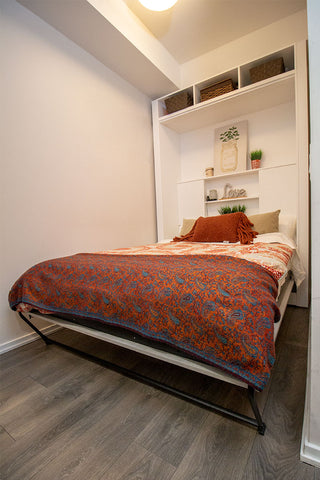 How To Transform A Small Den Into A Bedroom With A Wall Bed Small Space Plus