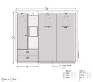 CT Wall Bed Kit with Storage Left Side - Murphy Mechanism