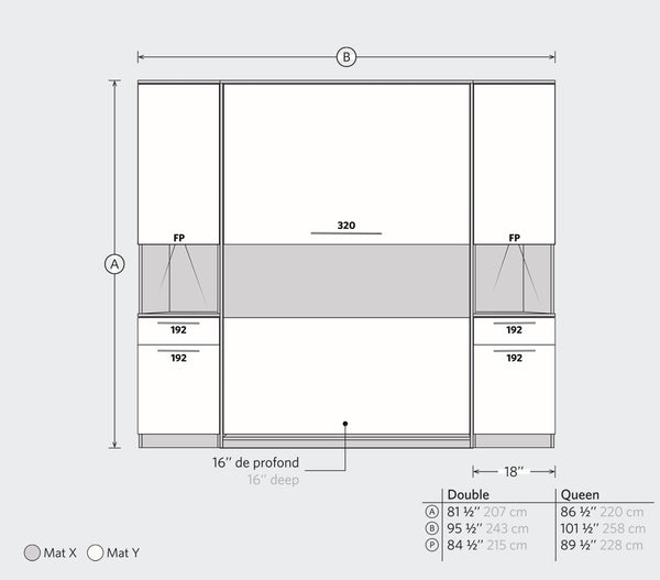 Division Wall Bed Kit with Storage - Murphy Mechanism