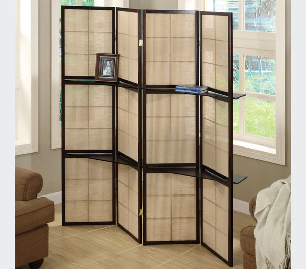 "Jasper 59"" Folding Screen with shelves"
