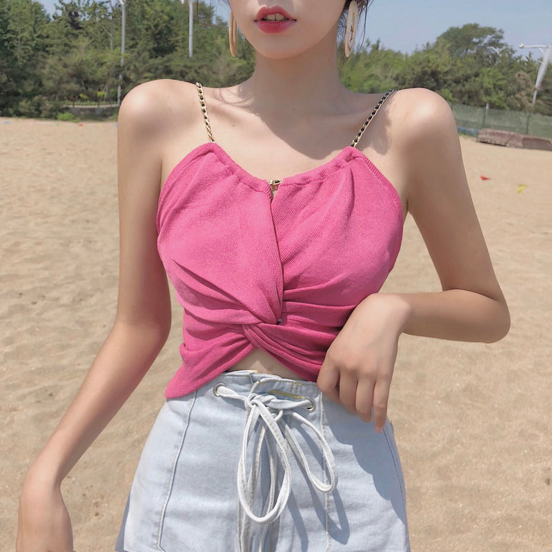 Small waistcoat women''s new summer 2018 Korean version of women''s wear with twisted chain personality suspender