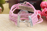 Layered Braided Leather Watch in Love Charm Pink