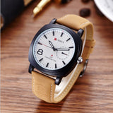 Mens Leather Strap Conservative Watch
