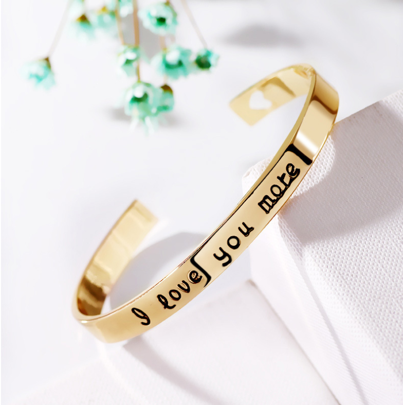 Europe and the United States lettering I Love You More couple love bracelet