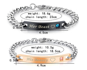 His Beauty and Her Beast Titanium Couple Bracelets