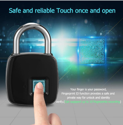 Fingerprint padlock smart lock anti-theft door lock outdoor door padlock luggage lock fingerprint padlock