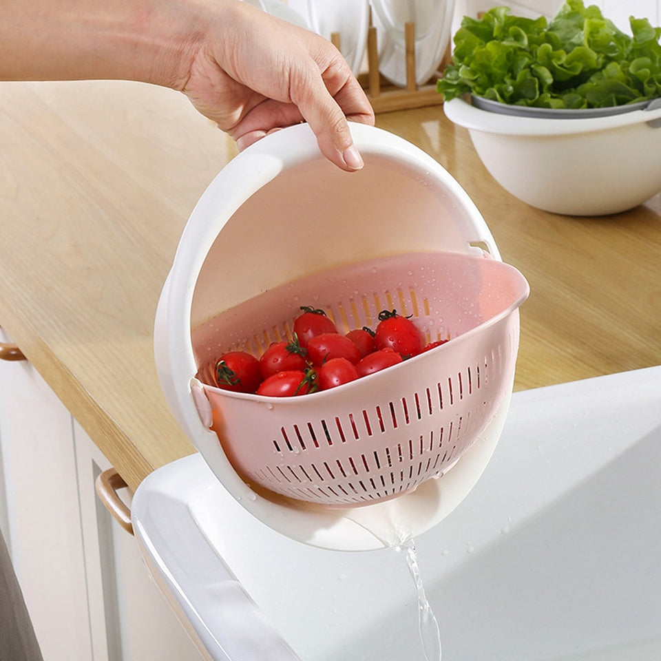 Portable detachable double-layer hollow fruit and vegetable cleaning drain basket Washed rice noodles
