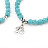 Natural Turquoise Beads Two Handmade Beaded Big Tree Pendant Bracelet