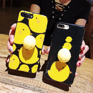 New creative iPhone mobile phone case imd knead pinch knead cute doll shell shelf