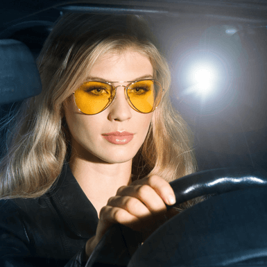 NightView - Night Vision Yellow Flat Lens Aviator Sunglasses for Driving